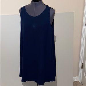 Alice + Olivia 93% silk navy sleeveless dress